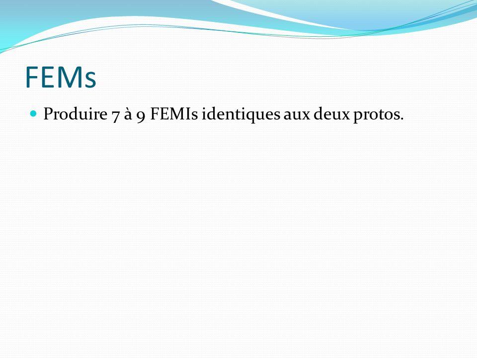 FEMs Produire 7 à 9 FEMIs identiques aux deux protos.