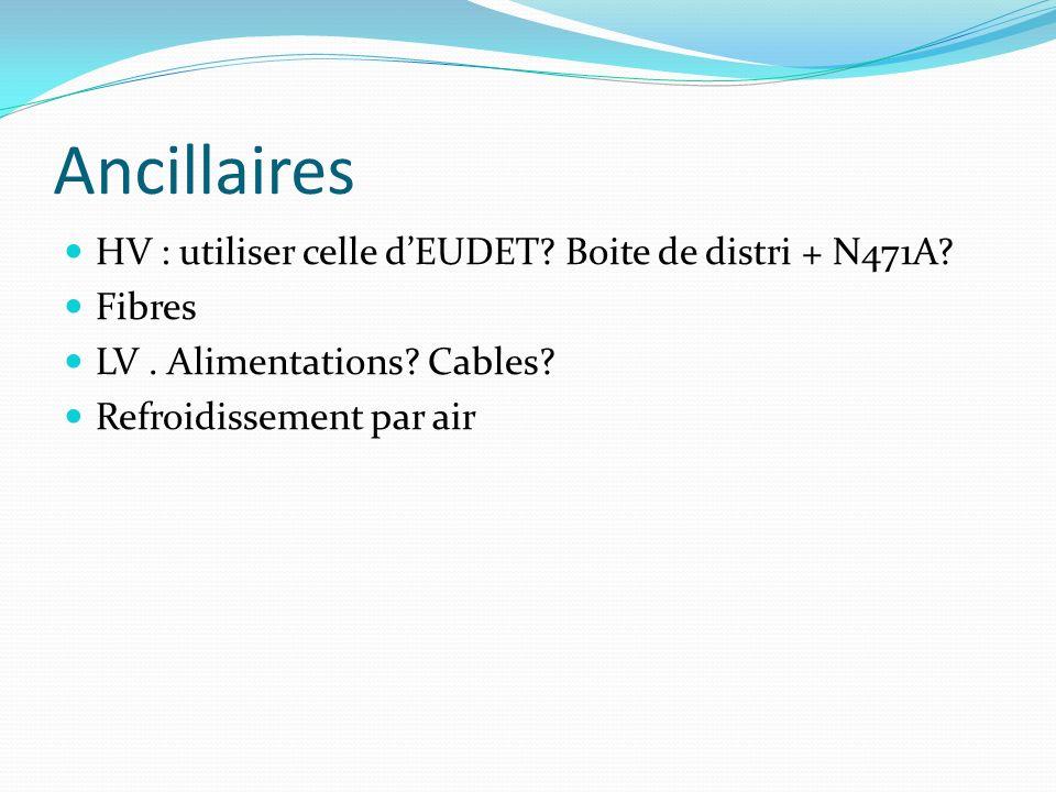 Ancillaires HV : utiliser celle dEUDET? Boite de distri + N471A? Fibres LV. Alimentations? Cables? Refroidissement par air