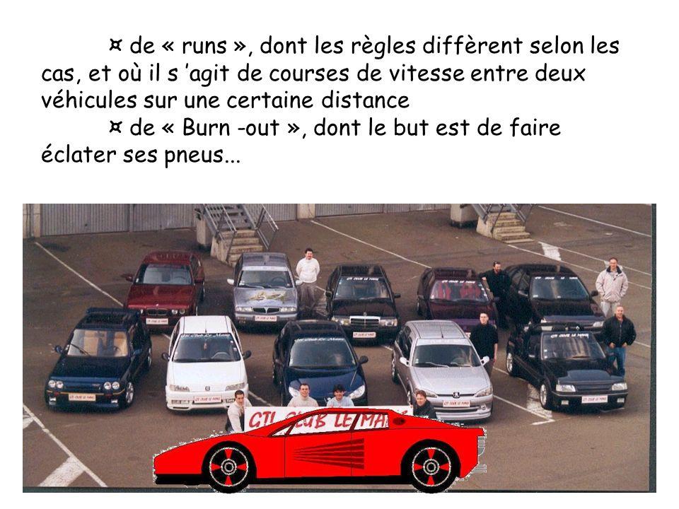 ¤ de « runs », dont les règles diffèrent selon les cas, et où il s agit de courses de vitesse entre deux véhicules sur une certaine distance ¤ de « Bu