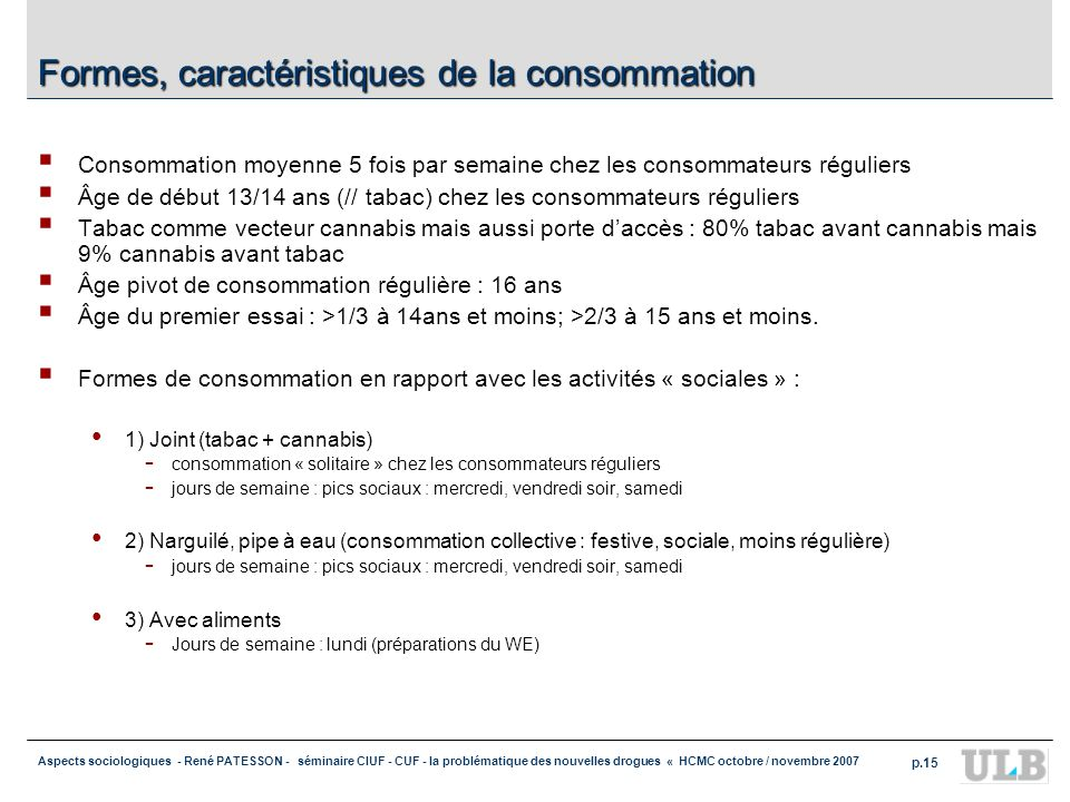 Aspects sociologiques - René PATESSON - séminaire CIUF - CUF - la problématique des nouvelles drogues « HCMC octobre / novembre 2007 p.15 Formes, cara