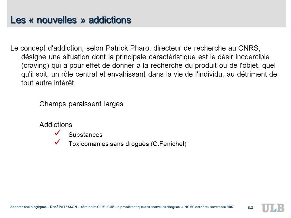 Aspects sociologiques - René PATESSON - séminaire CIUF - CUF - la problématique des nouvelles drogues « HCMC octobre / novembre 2007 p.2 Les « nouvell