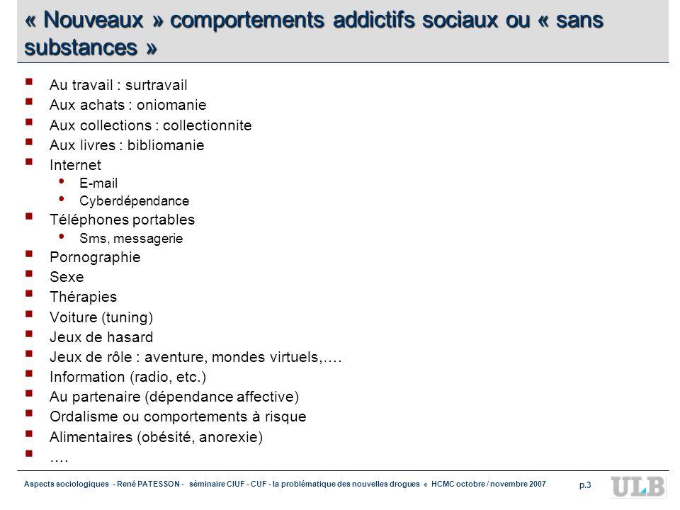 Aspects sociologiques - René PATESSON - séminaire CIUF - CUF - la problématique des nouvelles drogues « HCMC octobre / novembre 2007 p.3 « Nouveaux »