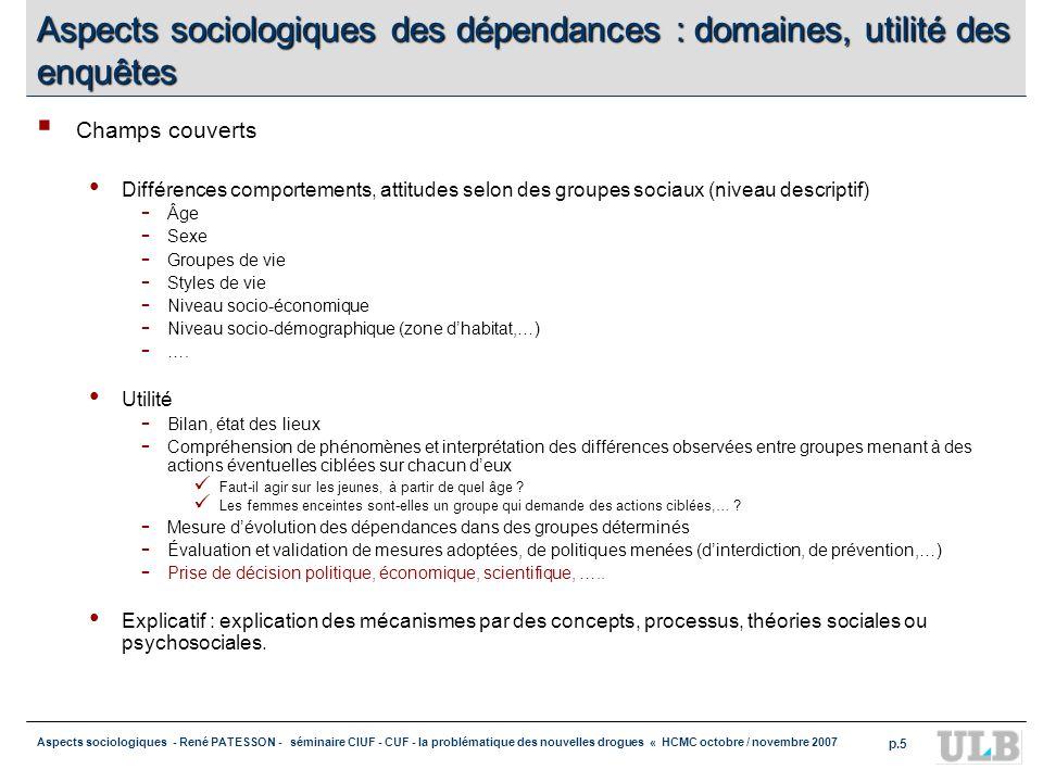 Aspects sociologiques - René PATESSON - séminaire CIUF - CUF - la problématique des nouvelles drogues « HCMC octobre / novembre 2007 p.5 Aspects socio