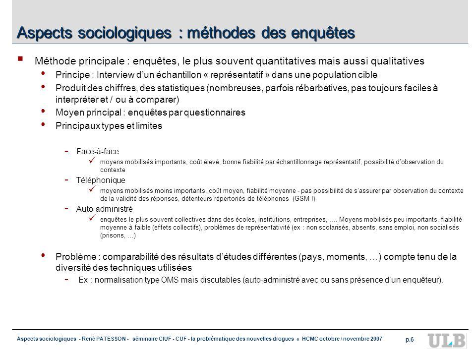 Aspects sociologiques - René PATESSON - séminaire CIUF - CUF - la problématique des nouvelles drogues « HCMC octobre / novembre 2007 p.6 Aspects socio