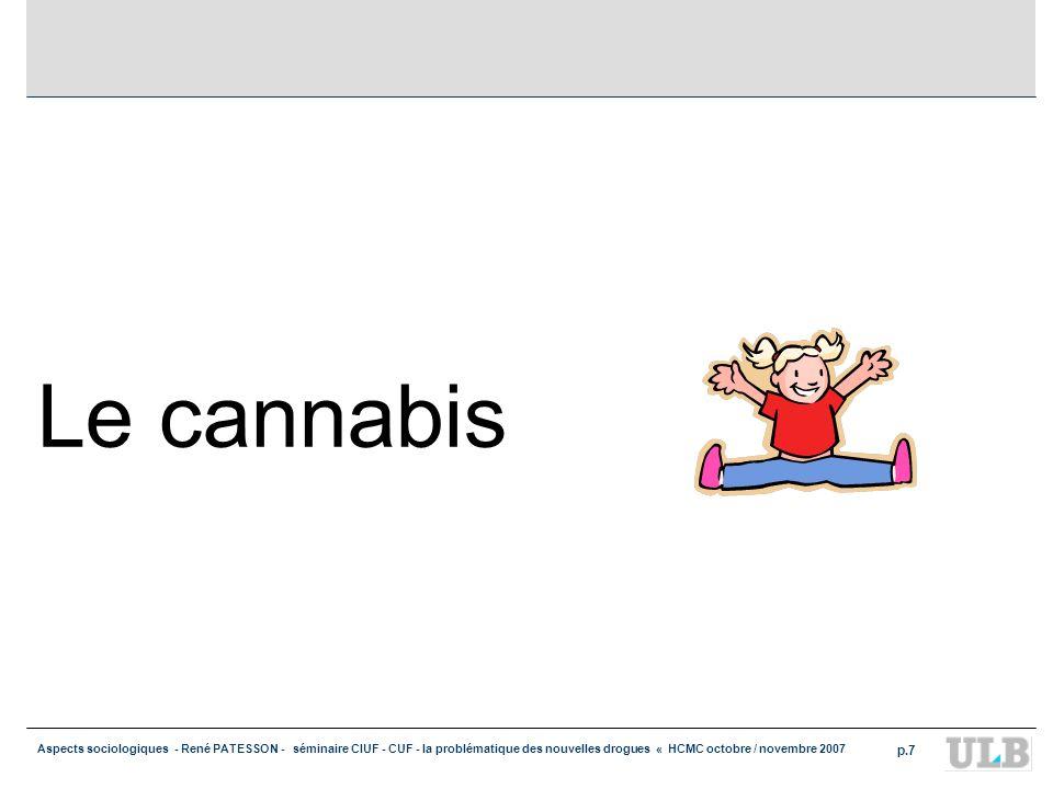 Aspects sociologiques - René PATESSON - séminaire CIUF - CUF - la problématique des nouvelles drogues « HCMC octobre / novembre 2007 p.7 Le cannabis