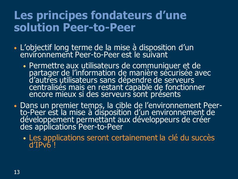 13 Les principes fondateurs dune solution Peer-to-Peer Lobjectif long terme de la mise à disposition dun environnement Peer-to-Peer est le suivant Permettre aux utilisateurs de communiquer et de partager de linformation de manière sécurisée avec dautres utilisateurs sans dépendre de serveurs centralisés mais en restant capable de fonctionner encore mieux si des serveurs sont présents Dans un premier temps, la cible de lenvironnement Peer- to-Peer est la mise à disposition dun environnement de développement permettant aux développeurs de créer des applications Peer-to-Peer Les applications seront certainement la clé du succès dIPv6 !