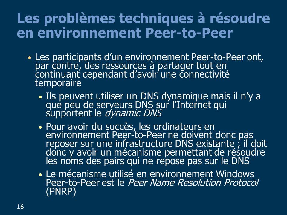 16 Les problèmes techniques à résoudre en environnement Peer-to-Peer Les participants dun environnement Peer-to-Peer ont, par contre, des ressources à partager tout en continuant cependant davoir une connectivité temporaire Ils peuvent utiliser un DNS dynamique mais il ny a que peu de serveurs DNS sur lInternet qui supportent le dynamic DNS Pour avoir du succès, les ordinateurs en environnement Peer-to-Peer ne doivent donc pas reposer sur une infrastructure DNS existante ; il doit donc y avoir un mécanisme permettant de résoudre les noms des pairs qui ne repose pas sur le DNS Le mécanisme utilisé en environnement Windows Peer-to-Peer est le Peer Name Resolution Protocol (PNRP)