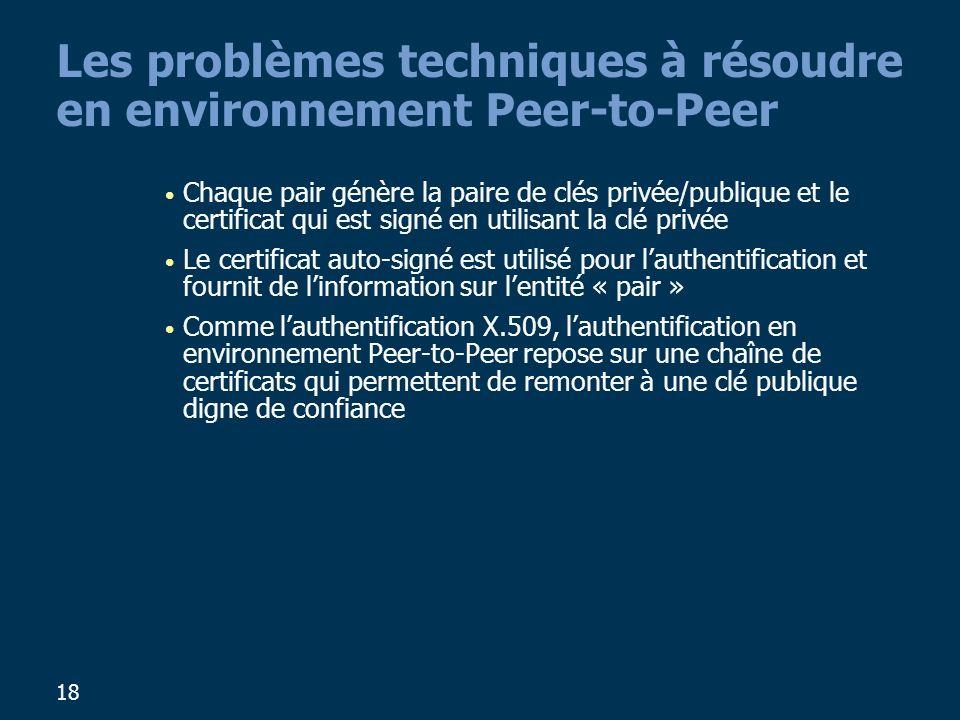 18 Les problèmes techniques à résoudre en environnement Peer-to-Peer Chaque pair génère la paire de clés privée/publique et le certificat qui est sign