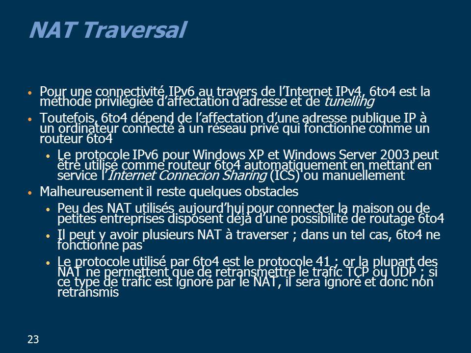 23 NAT Traversal Pour une connectivité IPv6 au travers de lInternet IPv4, 6to4 est la méthode privilégiée daffectation dadresse et de tunelling Toutefois, 6to4 dépend de laffectation dune adresse publique IP à un ordinateur connecté à un réseau privé qui fonctionne comme un routeur 6to4 Le protocole IPv6 pour Windows XP et Windows Server 2003 peut être utilisé comme routeur 6to4 automatiquement en mettant en service lInternet Connecion Sharing (ICS) ou manuellement Malheureusement il reste quelques obstacles Peu des NAT utilisés aujourdhui pour connecter la maison ou de petites entreprises disposent déjà dune possibilité de routage 6to4 Il peut y avoir plusieurs NAT à traverser ; dans un tel cas, 6to4 ne fonctionne pas Le protocole utilisé par 6to4 est le protocole 41 ; or la plupart des NAT ne permettent que de retransmettre le trafic TCP ou UDP ; si ce type de trafic est ignoré par le NAT, il sera ignoré et donc non retransmis
