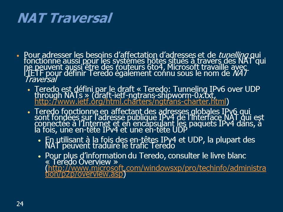 24 NAT Traversal Pour adresser les besoins daffectation dadresses et de tunelling qui fonctionne aussi pour les systèmes hôtes situés à travers des NAT qui ne peuvent aussi être des routeurs 6to4, Microsoft travaille avec lIETF pour définir Teredo également connu sous le nom de NAT Traversal Teredo est défini par le draft « Teredo: Tunneling IPv6 over UDP through NATs » (draft-ietf-ngtrans-shipworm-0x.txt, http://www.ietf.org/html.charters/ngtrans-charter.html) http://www.ietf.org/html.charters/ngtrans-charter.html Teredo fonctionne en affectant des adresses globales IPv6 qui sont fondées sur ladresse publique IPv4 de linterface NAT qui est connectée à lInternet et en encapsulant les paquets IPv4 dans, à la fois, une en-tête IPv4 et une en-tête UDP En utilisant à la fois des en-têtes IPv4 et UDP, la plupart des NAT peuvent traduire le trafic Teredo Pour plus dinformation du Teredo, consulter le livre blanc « Teredo Overview » (http://www.microsoft.com/windowsxp/pro/techinfo/administra tion/p2p/overview.asp)http://www.microsoft.com/windowsxp/pro/techinfo/administra tion/p2p/overview.asp