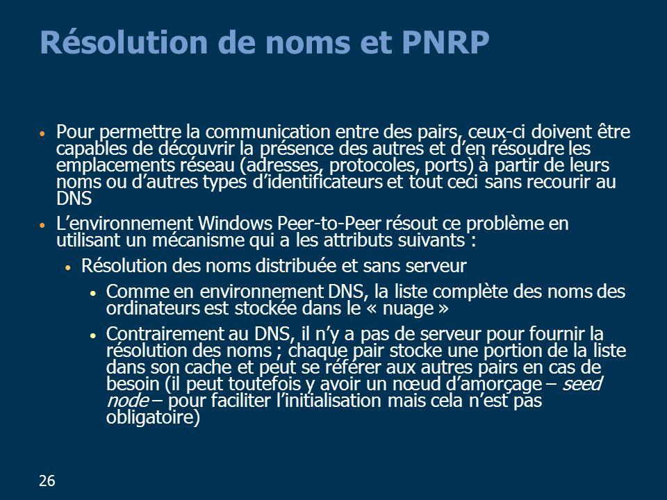 26 Résolution de noms et PNRP Pour permettre la communication entre des pairs, ceux-ci doivent être capables de découvrir la présence des autres et den résoudre les emplacements réseau (adresses, protocoles, ports) à partir de leurs noms ou dautres types didentificateurs et tout ceci sans recourir au DNS Lenvironnement Windows Peer-to-Peer résout ce problème en utilisant un mécanisme qui a les attributs suivants : Résolution des noms distribuée et sans serveur Comme en environnement DNS, la liste complète des noms des ordinateurs est stockée dans le « nuage » Contrairement au DNS, il ny a pas de serveur pour fournir la résolution des noms ; chaque pair stocke une portion de la liste dans son cache et peut se référer aux autres pairs en cas de besoin (il peut toutefois y avoir un nœud damorçage – seed node – pour faciliter linitialisation mais cela nest pas obligatoire)