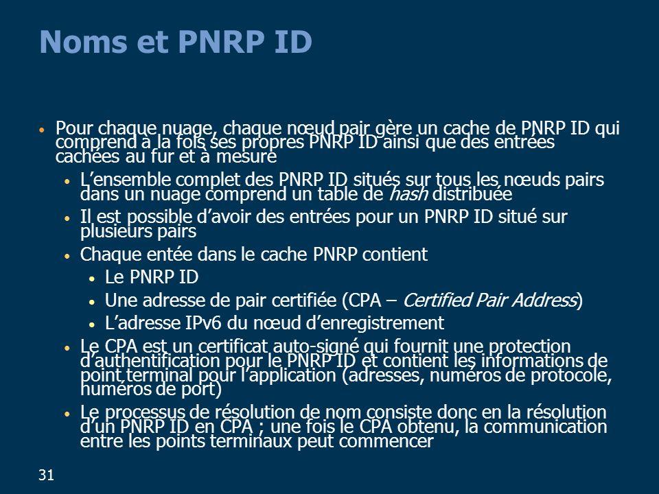 31 Noms et PNRP ID Pour chaque nuage, chaque nœud pair gère un cache de PNRP ID qui comprend à la fois ses propres PNRP ID ainsi que des entrées cachées au fur et à mesure Lensemble complet des PNRP ID situés sur tous les nœuds pairs dans un nuage comprend un table de hash distribuée Il est possible davoir des entrées pour un PNRP ID situé sur plusieurs pairs Chaque entée dans le cache PNRP contient Le PNRP ID Une adresse de pair certifiée (CPA – Certified Pair Address) Ladresse IPv6 du nœud denregistrement Le CPA est un certificat auto-signé qui fournit une protection dauthentification pour le PNRP ID et contient les informations de point terminal pour lapplication (adresses, numéros de protocole, numéros de port) Le processus de résolution de nom consiste donc en la résolution dun PNRP ID en CPA ; une fois le CPA obtenu, la communication entre les points terminaux peut commencer