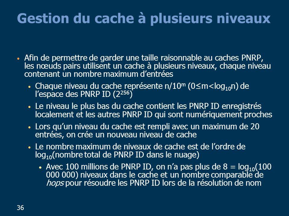 36 Gestion du cache à plusieurs niveaux Afin de permettre de garder une taille raisonnable au caches PNRP, les nœuds pairs utilisent un cache à plusieurs niveaux, chaque niveau contenant un nombre maximum dentrées Chaque niveau du cache représente n/10 m (0m<log 10 n) de lespace des PNRP ID (2 256 ) Le niveau le plus bas du cache contient les PNRP ID enregistrés localement et les autres PNRP ID qui sont numériquement proches Lors quun niveau du cache est rempli avec un maximum de 20 entrées, on crée un nouveau niveau de cache Le nombre maximum de niveaux de cache est de lordre de log 10 (nombre total de PNRP ID dans le nuage) Avec 100 millions de PNRP ID, on na pas plus de 8 = log 10 (100 000 000) niveaux dans le cache et un nombre comparable de hops pour résoudre les PNRP ID lors de la résolution de nom