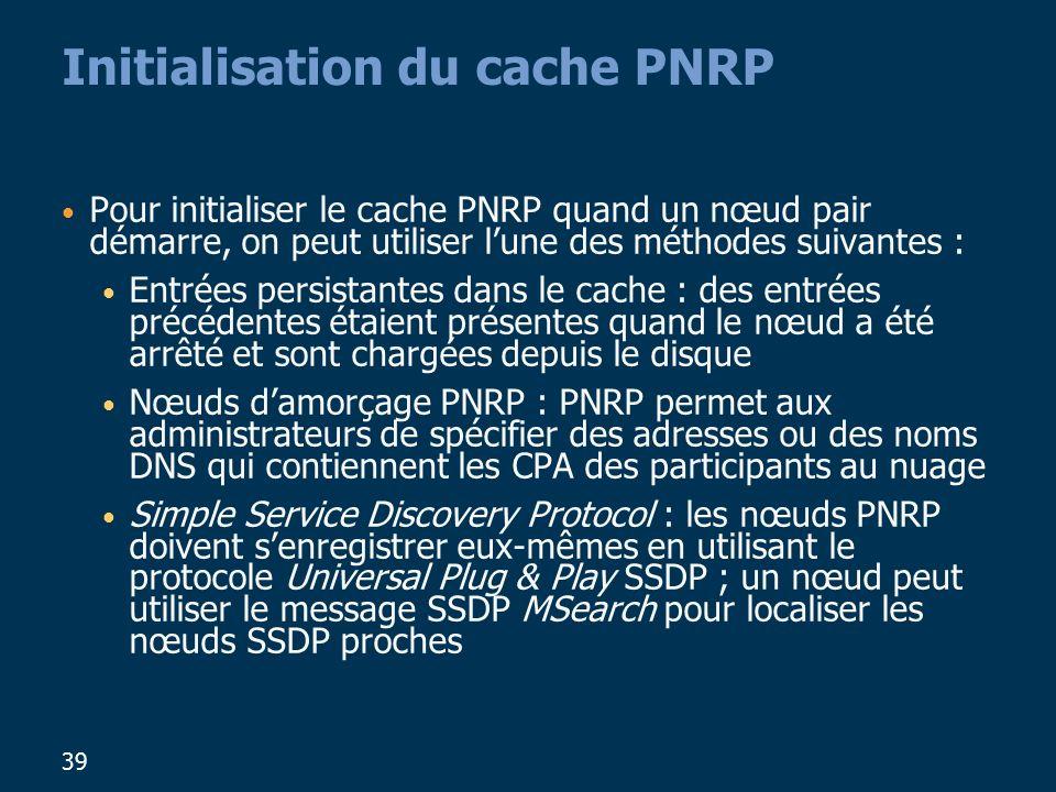 39 Initialisation du cache PNRP Pour initialiser le cache PNRP quand un nœud pair démarre, on peut utiliser lune des méthodes suivantes : Entrées persistantes dans le cache : des entrées précédentes étaient présentes quand le nœud a été arrêté et sont chargées depuis le disque Nœuds damorçage PNRP : PNRP permet aux administrateurs de spécifier des adresses ou des noms DNS qui contiennent les CPA des participants au nuage Simple Service Discovery Protocol : les nœuds PNRP doivent senregistrer eux-mêmes en utilisant le protocole Universal Plug & Play SSDP ; un nœud peut utiliser le message SSDP MSearch pour localiser les nœuds SSDP proches