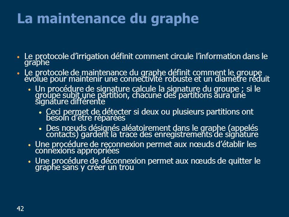 42 La maintenance du graphe Le protocole dirrigation définit comment circule linformation dans le graphe Le protocole de maintenance du graphe définit