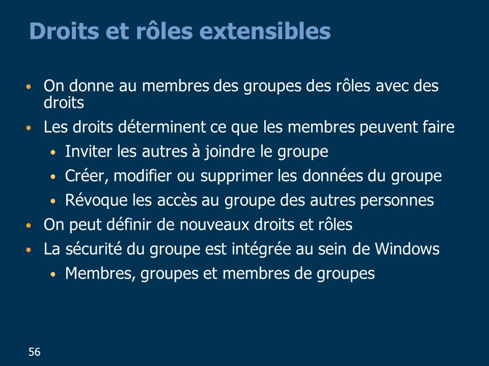 56 Droits et rôles extensibles On donne au membres des groupes des rôles avec des droits Les droits déterminent ce que les membres peuvent faire Inviter les autres à joindre le groupe Créer, modifier ou supprimer les données du groupe Révoque les accès au groupe des autres personnes On peut définir de nouveaux droits et rôles La sécurité du groupe est intégrée au sein de Windows Membres, groupes et membres de groupes