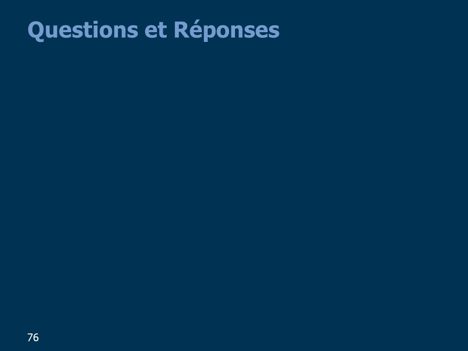 76 Questions et Réponses