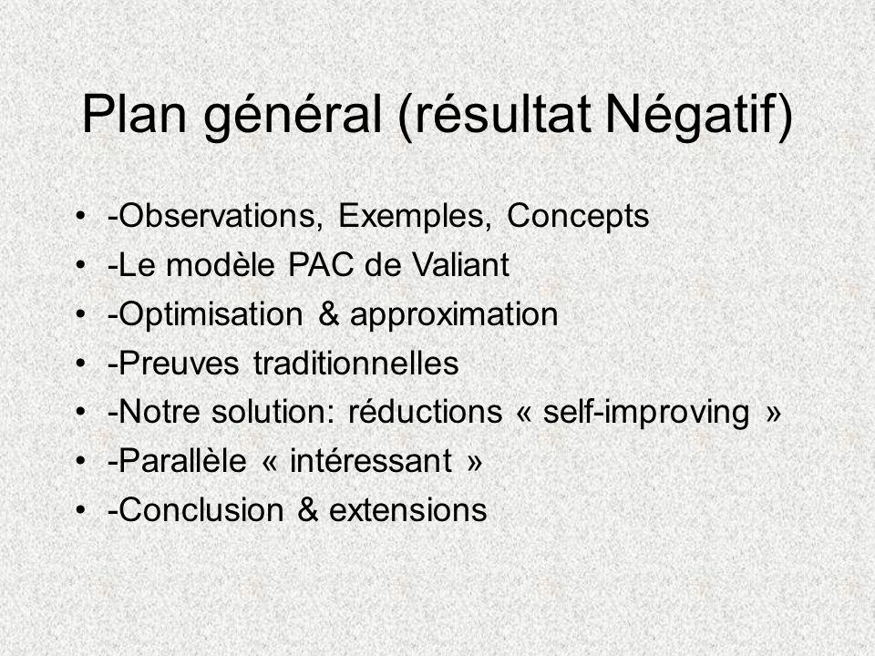 Plan général (résultat Négatif) -Observations, Exemples, Concepts -Le modèle PAC de Valiant -Optimisation & approximation -Preuves traditionnelles -No