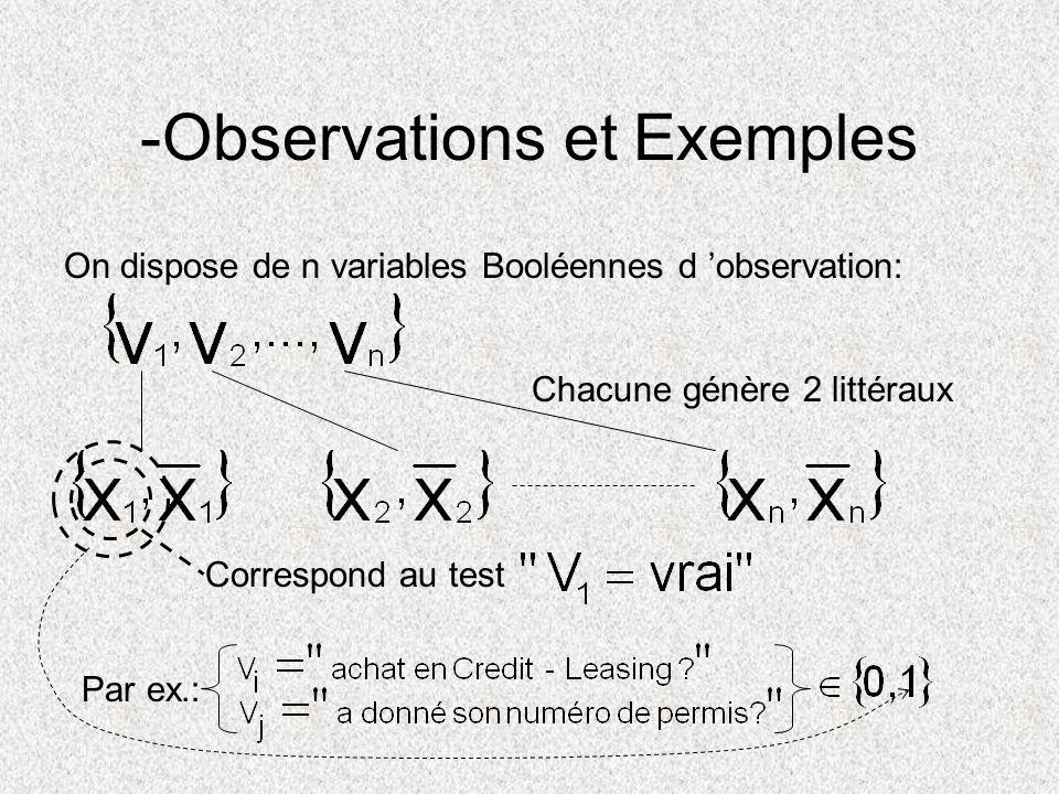 -Observations et Exemples On dispose de n variables Booléennes d observation: Chacune génère 2 littéraux Correspond au test Par ex.: