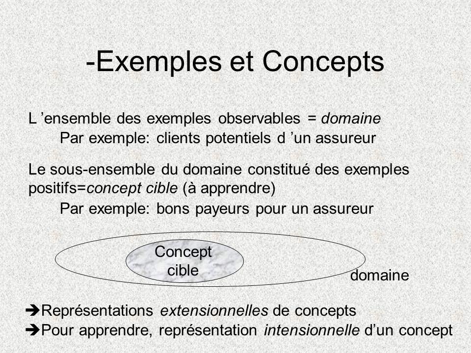 -Exemples et Concepts L ensemble des exemples observables = domaine Par exemple: clients potentiels d un assureur Le sous-ensemble du domaine constitu