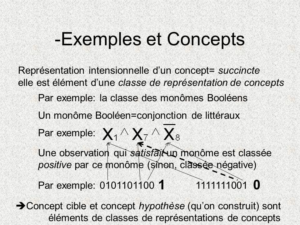 -Exemples et Concepts Représentation intensionnelle dun concept= succincte elle est élément dune classe de représentation de concepts Par exemple: la