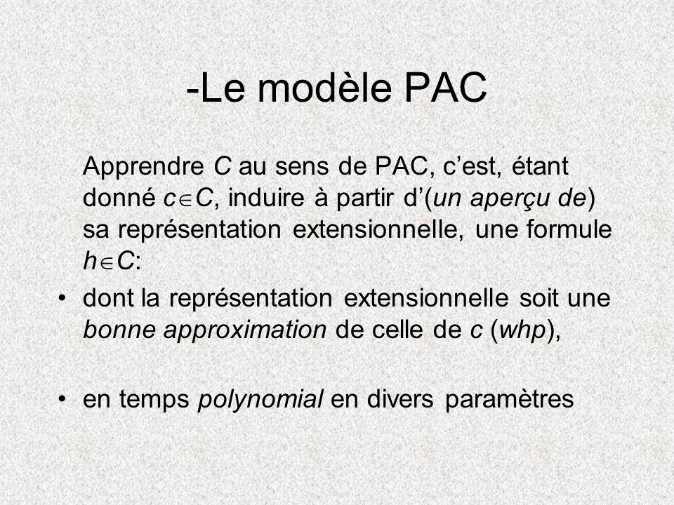 -Le modèle PAC Apprendre C au sens de PAC, cest, étant donné c C, induire à partir d(un aperçu de) sa représentation extensionnelle, une formule h C: