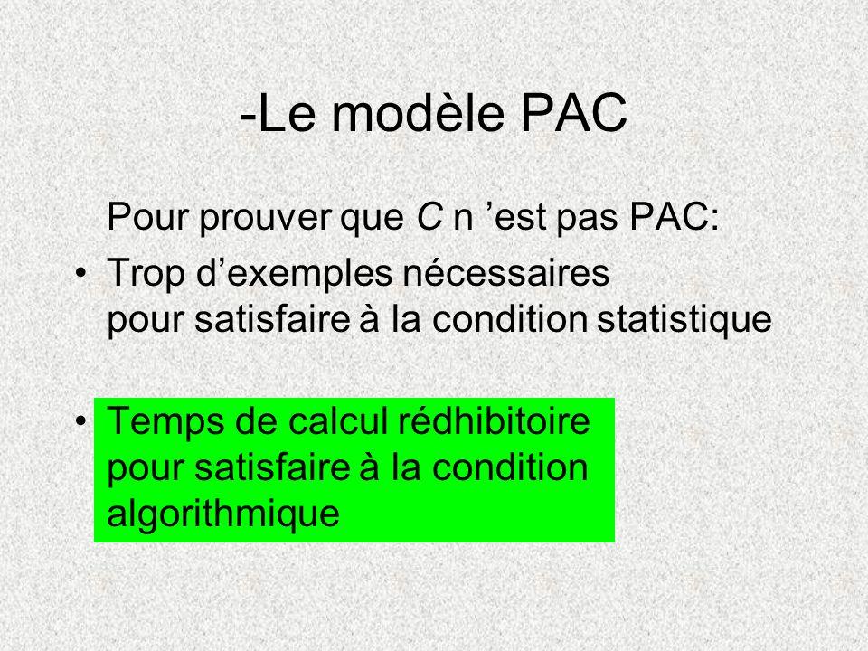 Pour prouver que C n est pas PAC: Trop dexemples nécessaires pour satisfaire à la condition statistique Temps de calcul rédhibitoire pour satisfaire à