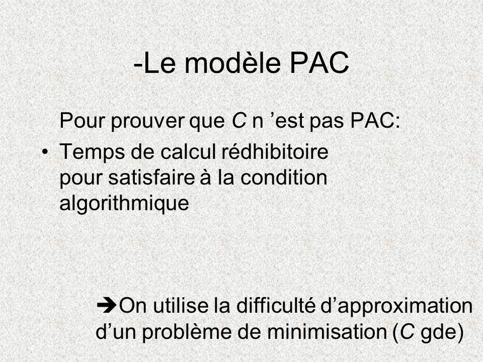Pour prouver que C n est pas PAC: Temps de calcul rédhibitoire pour satisfaire à la condition algorithmique -Le modèle PAC On utilise la difficulté da