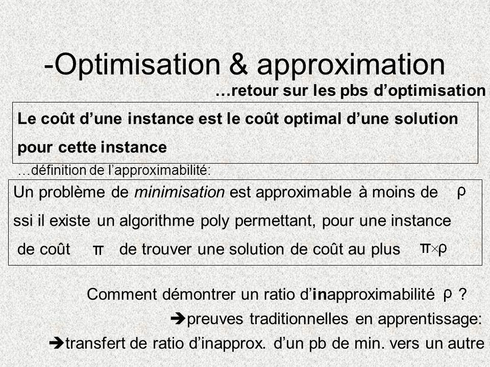 Comment démontrer un ratio dinapproximabilité transfert de ratio dinapprox. dun pb de min. vers un autre Le coût dune instance est le coût optimal dun