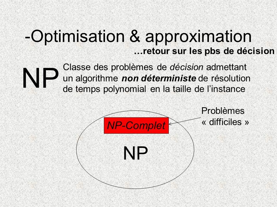 -Optimisation & approximation NP Classe des problèmes de décision admettant un algorithme non déterministe de résolution de temps polynomial en la tai