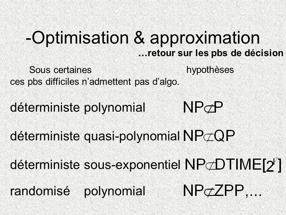 -Optimisation & approximation Sous certaines …retour sur les pbs de décision hypothèses ces pbs difficiles nadmettent pas dalgo. déterministepolynomia