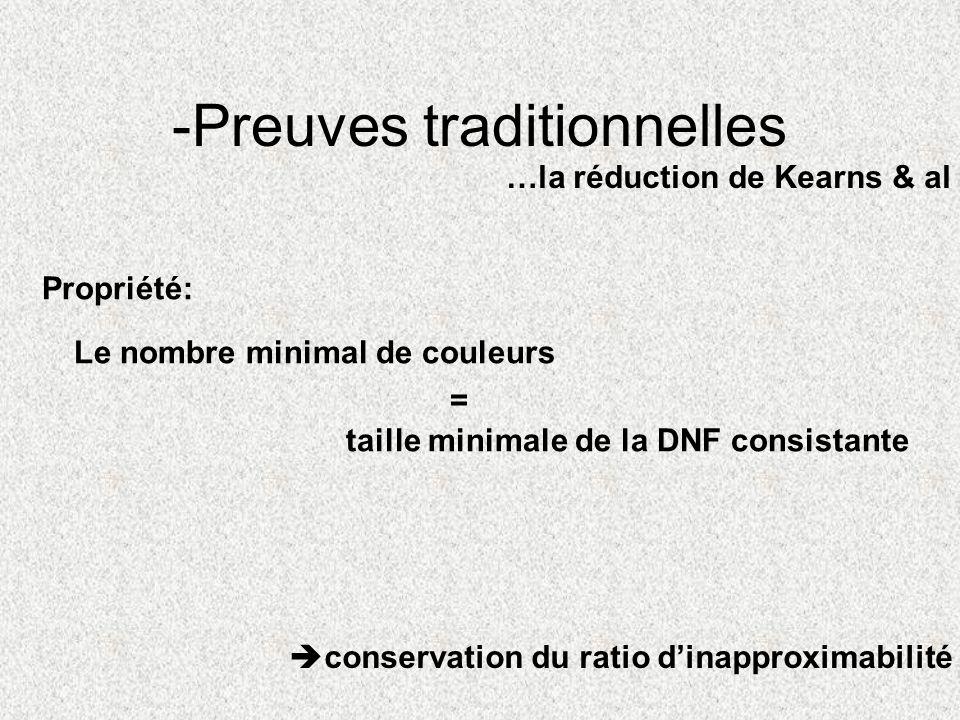 Propriété: Le nombre minimal de couleurs taille minimale de la DNF consistante = -Preuves traditionnelles …la réduction de Kearns & al conservation du