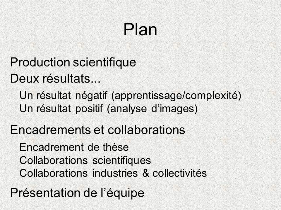 Plan Présentation de léquipe Deux résultats... Un résultat négatif (apprentissage/complexité) Un résultat positif (analyse dimages) Encadrements et co