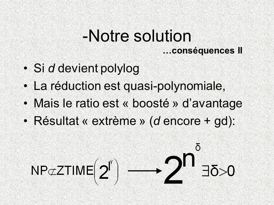 Si d devient polylog La réduction est quasi-polynomiale, Mais le ratio est « boosté » davantage Résultat « extrème » (d encore + gd): -Notre solution