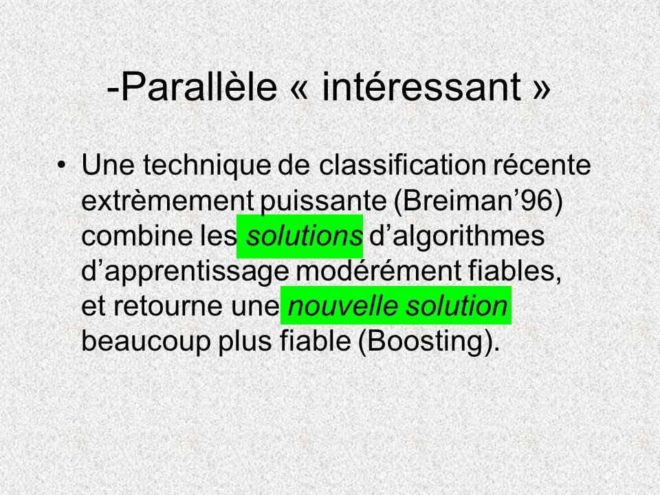 -Parallèle « intéressant » Une technique de classification récente extrèmement puissante (Breiman96) combine les solutions dalgorithmes dapprentissage