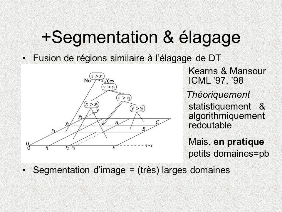 +Segmentation & élagage Fusion de régions similaire à lélagage de DT Segmentation dimage = (très) larges domaines Kearns & Mansour ICML 97, 98 statist