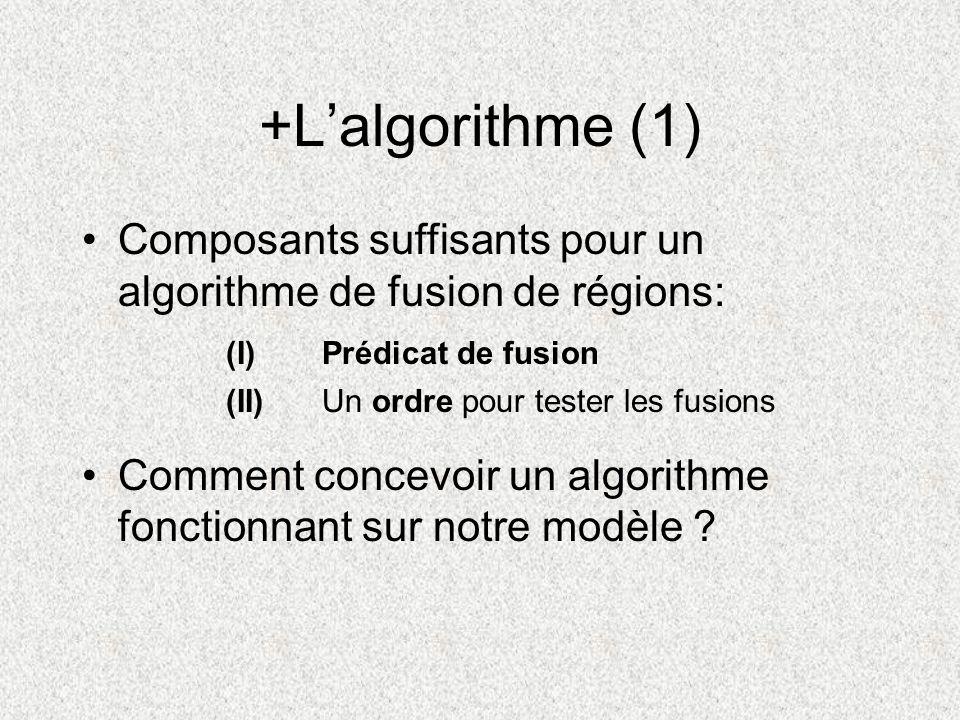 +Lalgorithme (1) Composants suffisants pour un algorithme de fusion de régions: Comment concevoir un algorithme fonctionnant sur notre modèle ? (I) Pr