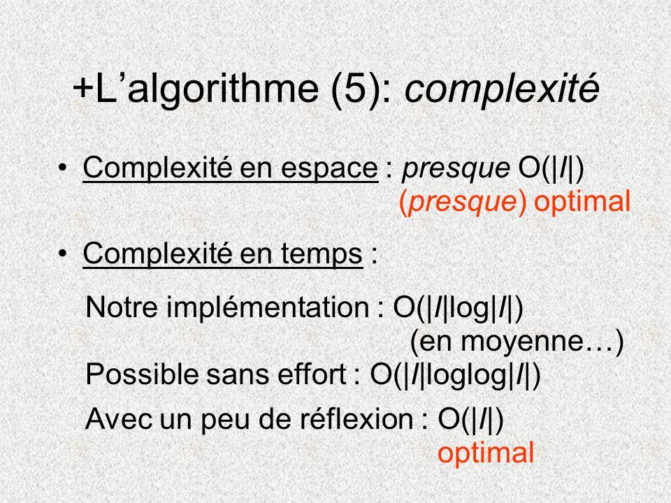 +Lalgorithme (5): complexité Complexité en espace : presque O(|I|) Complexité en temps : Notre implémentation : O(|I|log|I|) (en moyenne…) (presque) o