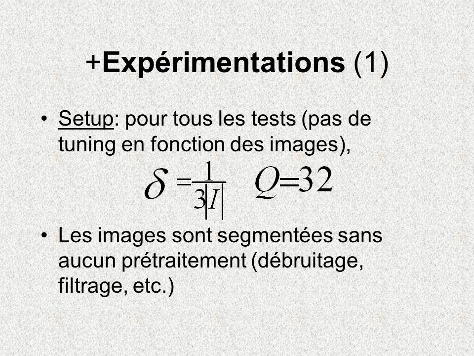 +Expérimentations (1) Setup: pour tous les tests (pas de tuning en fonction des images), Les images sont segmentées sans aucun prétraitement (débruita