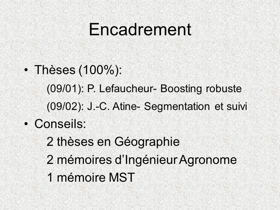Encadrement Thèses (100%): (09/01): P. Lefaucheur- Boosting robuste (09/02): J.-C. Atine- Segmentation et suivi Conseils: 2 thèses en Géographie 2 mém