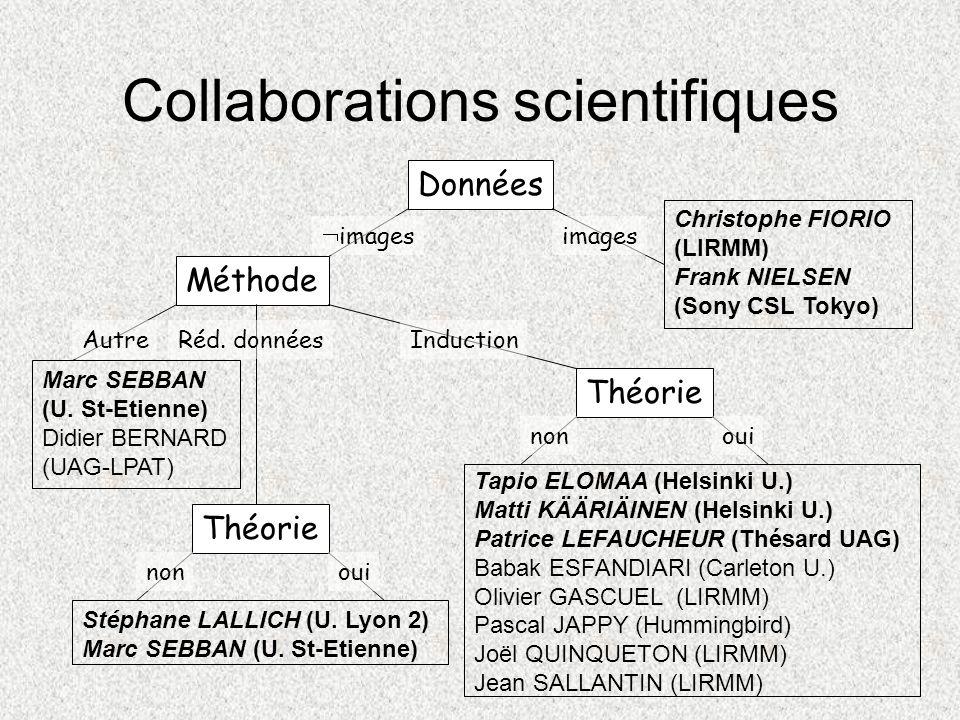 Collaborations scientifiques Données Méthode Théorie images AutreRéd. donnéesInduction nonoui Théorie nonoui Stéphane LALLICH (U. Lyon 2) Marc SEBBAN