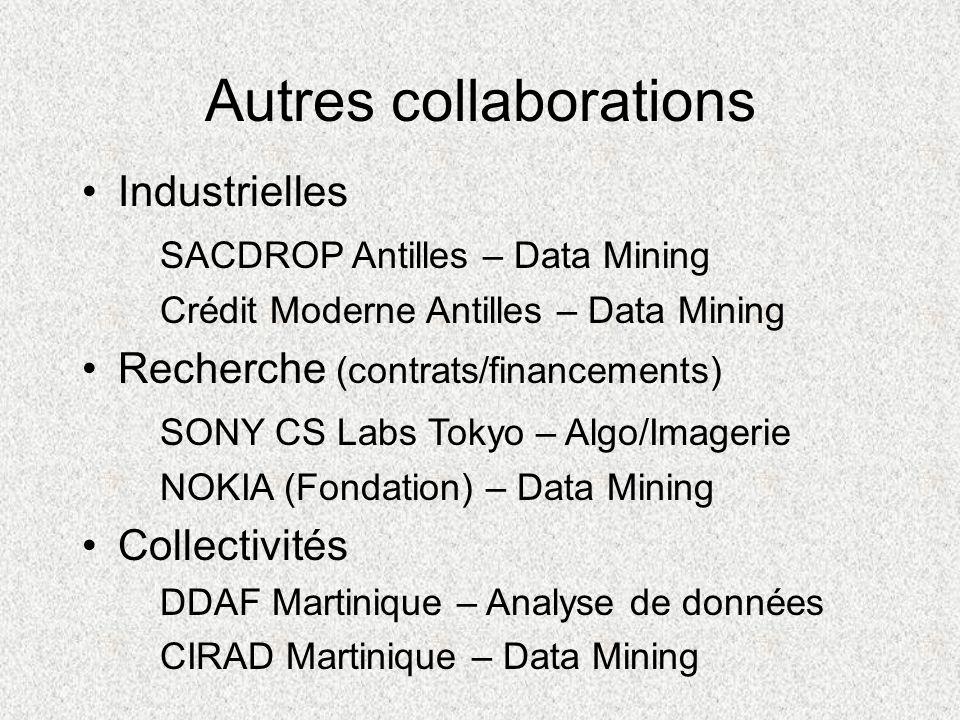 Autres collaborations Industrielles SACDROP Antilles – Data Mining Crédit Moderne Antilles – Data Mining Recherche (contrats/financements) SONY CS Lab