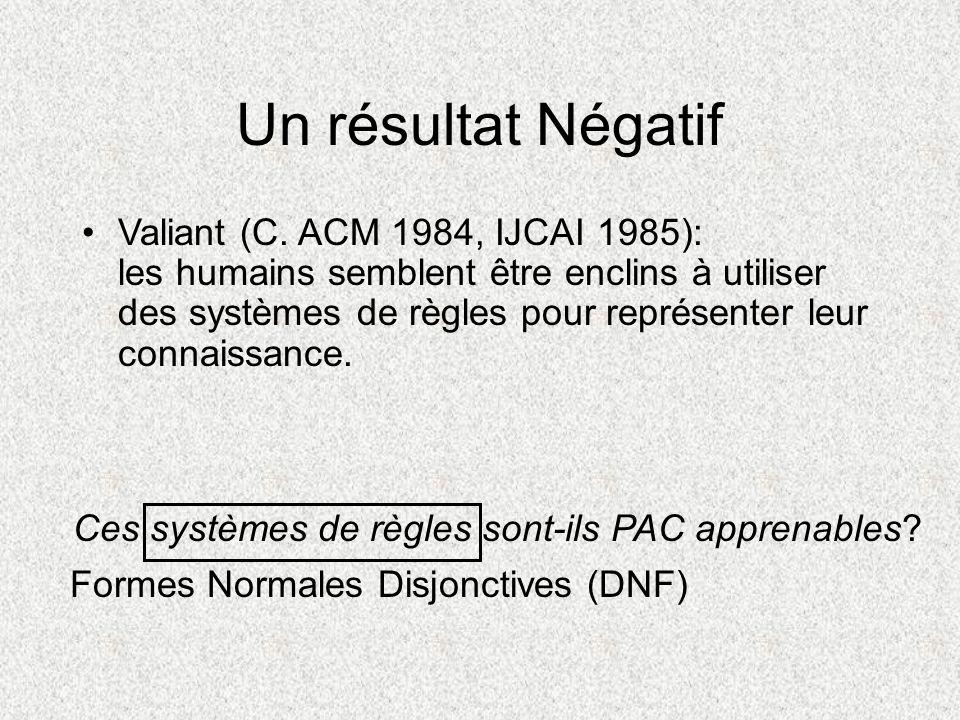 Un résultat Négatif Valiant (C. ACM 1984, IJCAI 1985): les humains semblent être enclins à utiliser des systèmes de règles pour représenter leur conna