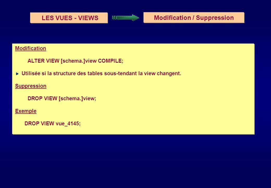 LES VUES - VIEWS Modification / Suppression Modification ALTER VIEW [schema.]view COMPILE; Utilisée si la structure des tables sous-tendant la view ch