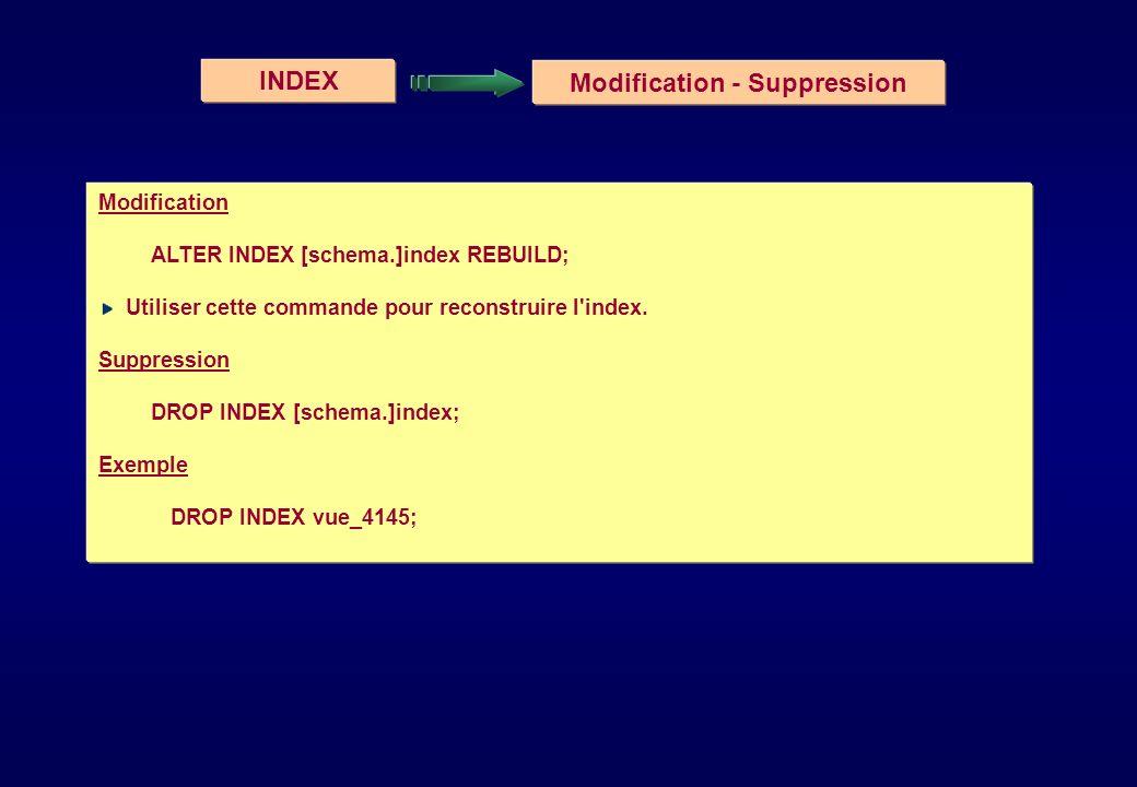 INDEX Modification - Suppression Modification ALTER INDEX [schema.]index REBUILD; Utiliser cette commande pour reconstruire l'index. Suppression DROP