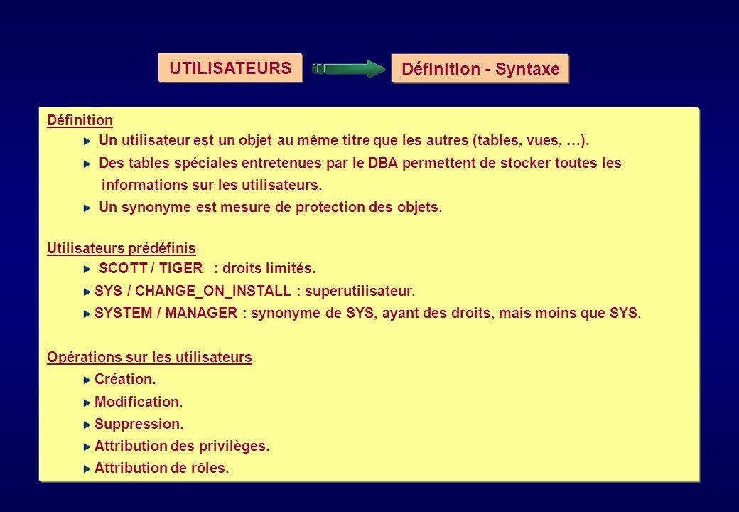 UTILISATEURS Définition - Syntaxe Définition Un utilisateur est un objet au même titre que les autres (tables, vues, …). Des tables spéciales entreten