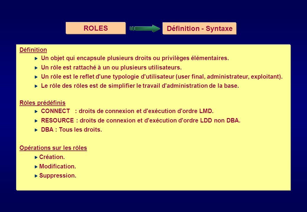 ROLES Définition - Syntaxe Définition Un objet qui encapsule plusieurs droits ou privilèges élémentaires. Un rôle est rattaché à un ou plusieurs utili