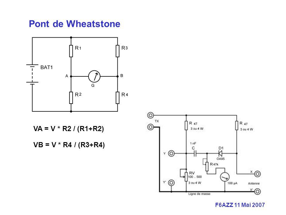 F6AZZ 11 Mai 2007 VA = V * R2 / (R1+R2) VB = V * R4 / (R3+R4) Pont de Wheatstone