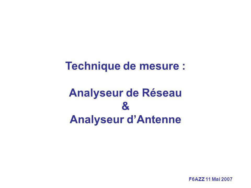 F6AZZ 11 Mai 2007 Technique de mesure : Analyseur de Réseau & Analyseur dAntenne