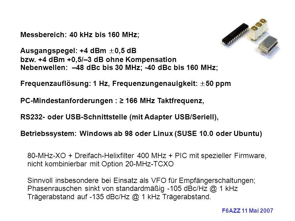 F6AZZ 11 Mai 2007 Messbereich: 40 kHz bis 160 MHz; Ausgangspegel: +4 dBm ±0,5 dB bzw.